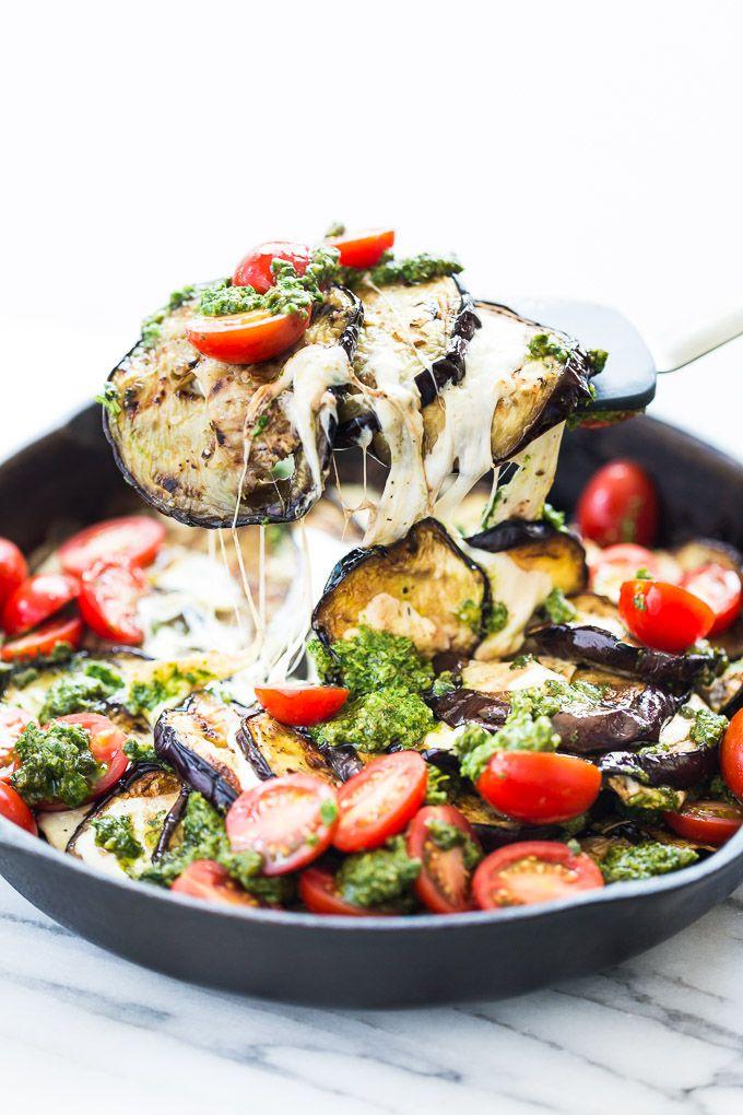 Photo of Grilled Eggplant Mozzarella Stacks with Pesto and Tomatoes
