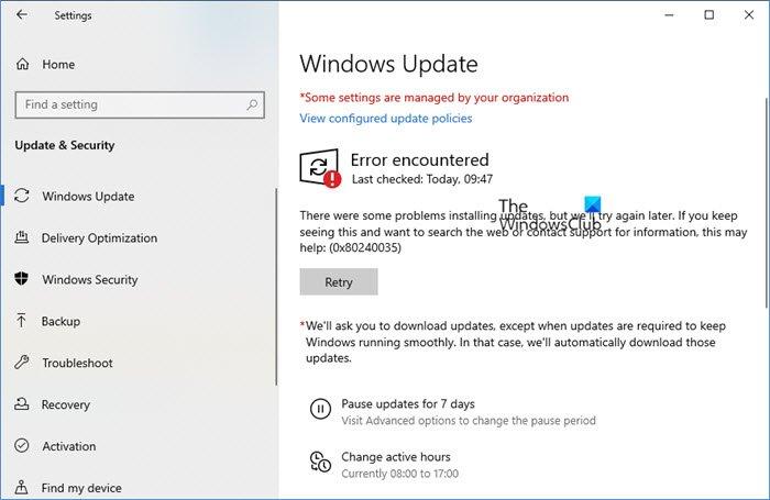 Fix Windows Update Error 0x80240035 Windows Pc Repair Antivirus Program