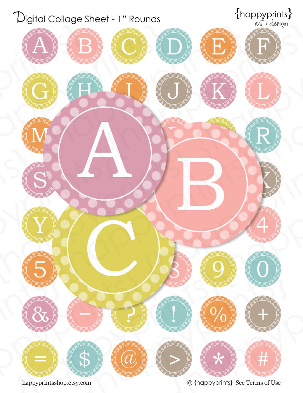 Pastel Alphabet / Numbers Digital Collage Sheet - Bottlecap Image ...