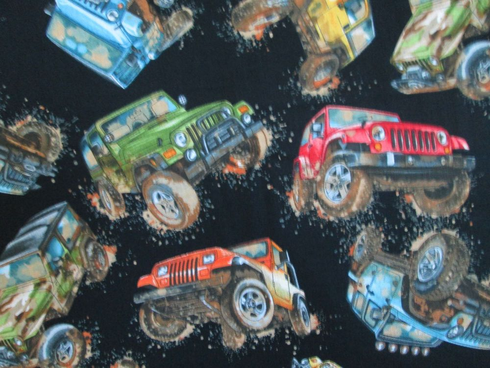 Jeep Racing Jeeps Big Tires Mud Cotton Fabric Fq Outofprint Cotton Crafts Fabric Cotton Fabric