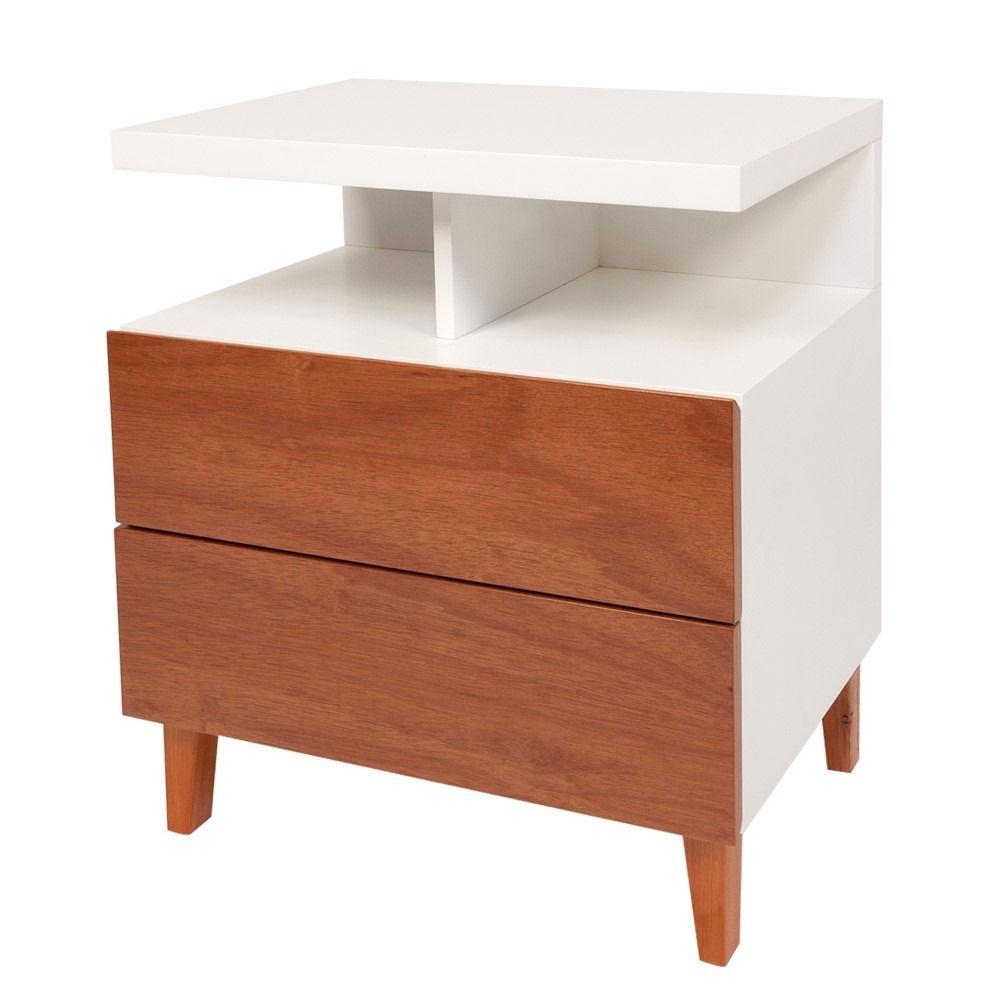 mesa de luz de madera laquaeda moderna minimalista