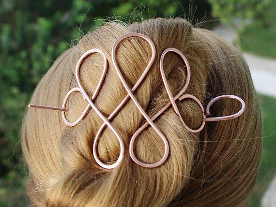 Celtic Hair Barrette Women Gift Copper Hair Slide With Etsy Copper Hair Metallic Hair Celtic Hair