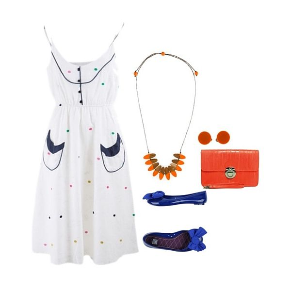 RO // STYLE - Not every outfit needs to have matching shoes and clutch. Be bold and bright and mix it up to add more colour to your outfit. RO Loves this cute spotty dress with our South Pacific Frangipani Necklace in Orange. Shop now:http://rubyolive.com.au/collections/south-pacific/products/south-pacific-frangipani-necklace-orange