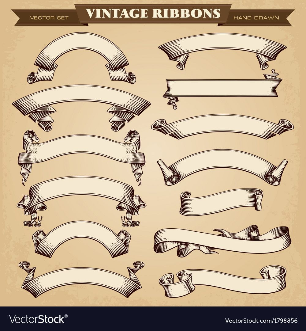 Vintage Ribbon Banners Collection Download A Free Preview Or High Quality Adobe Illustrator Ai Eps Pdf An Vintage Ribbon Banner Ribbon Banner Vintage Banner