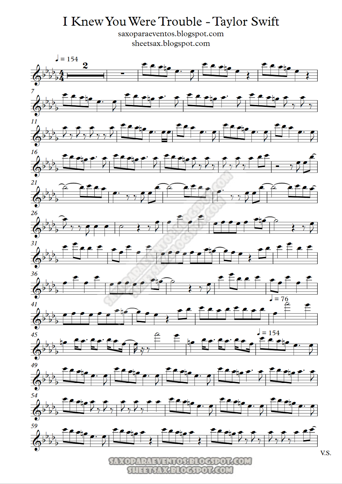 Sheet Music For Sax Of I Knew You Were Trouble By Tylor