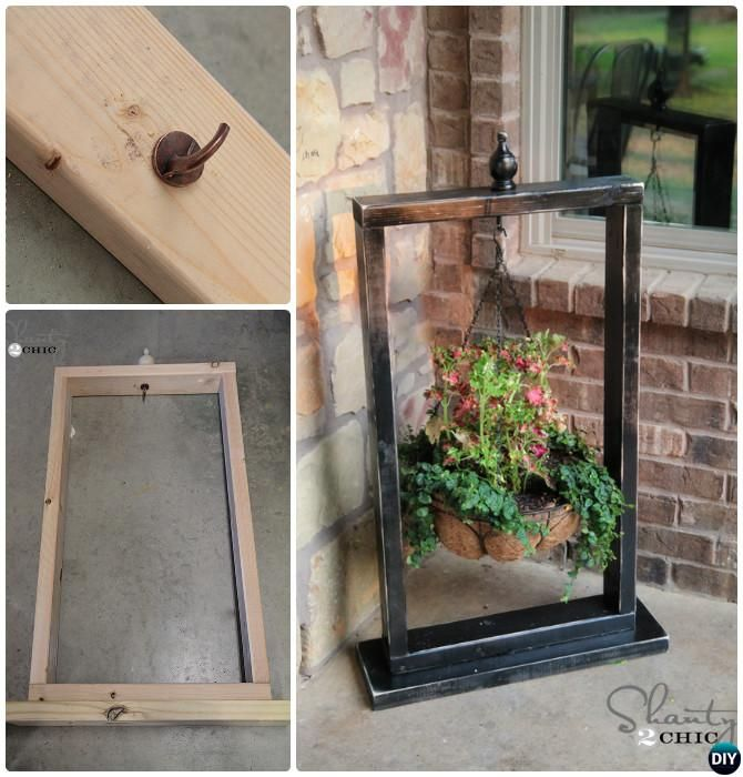 diy front porch hanging planter basket wood stand frame 20 diy porch