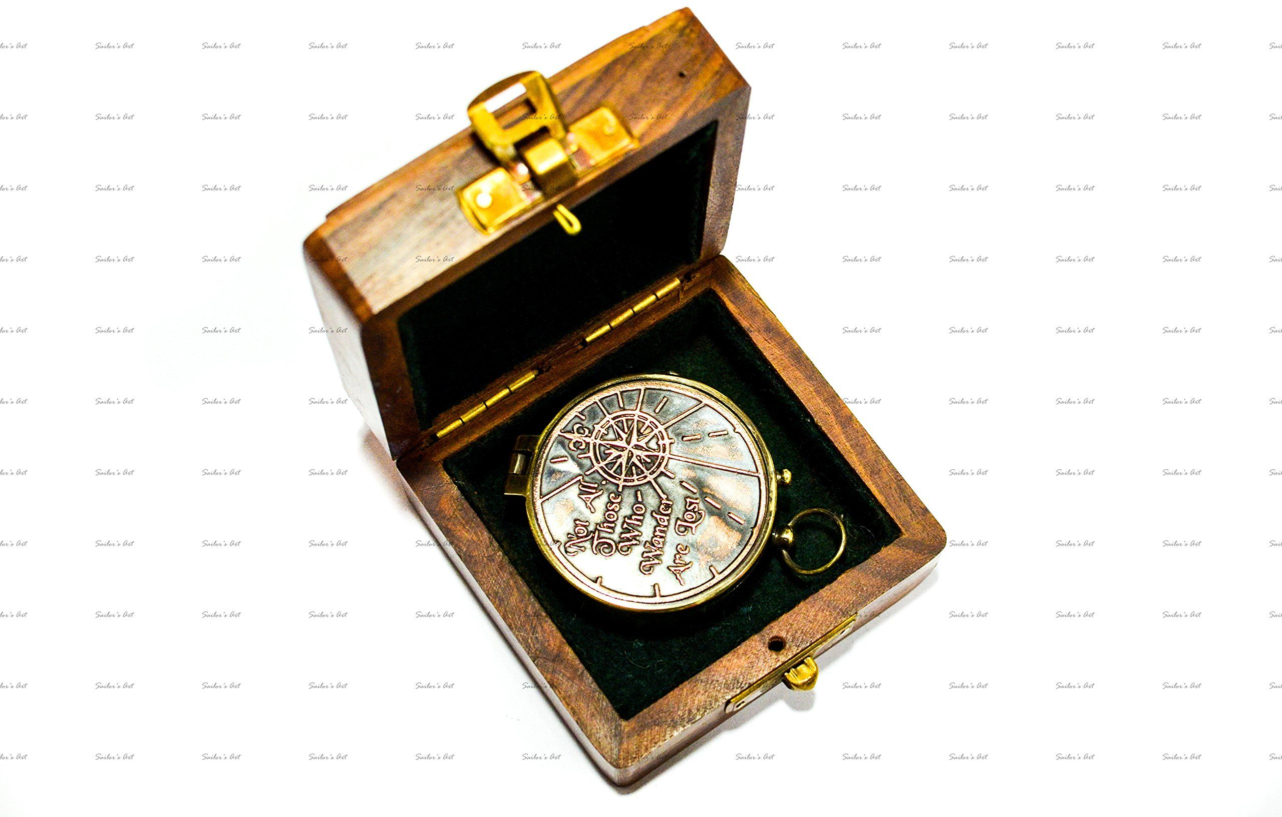 Sailors Art Antique Brass Compass 2 With Shesham Wooden Box Vintage Antique Home Da C Cor And Gift Embossed Quote Not All Wooden Boxes Personalized Gifts Gifts