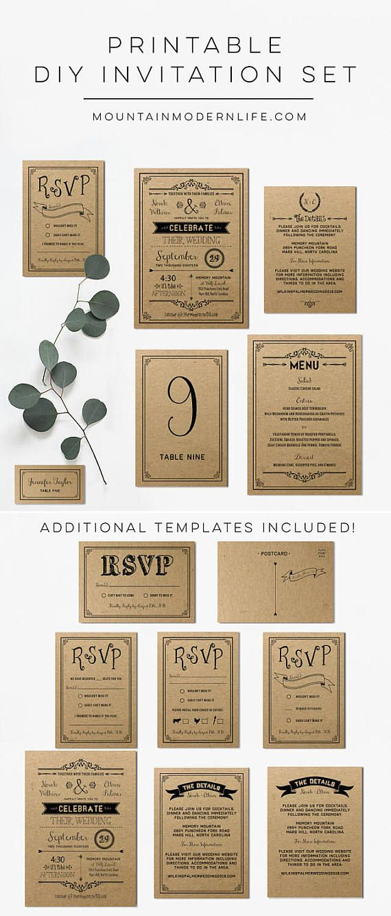 Printable Diy Rustic Wedding Invitation Set In 2019 Products