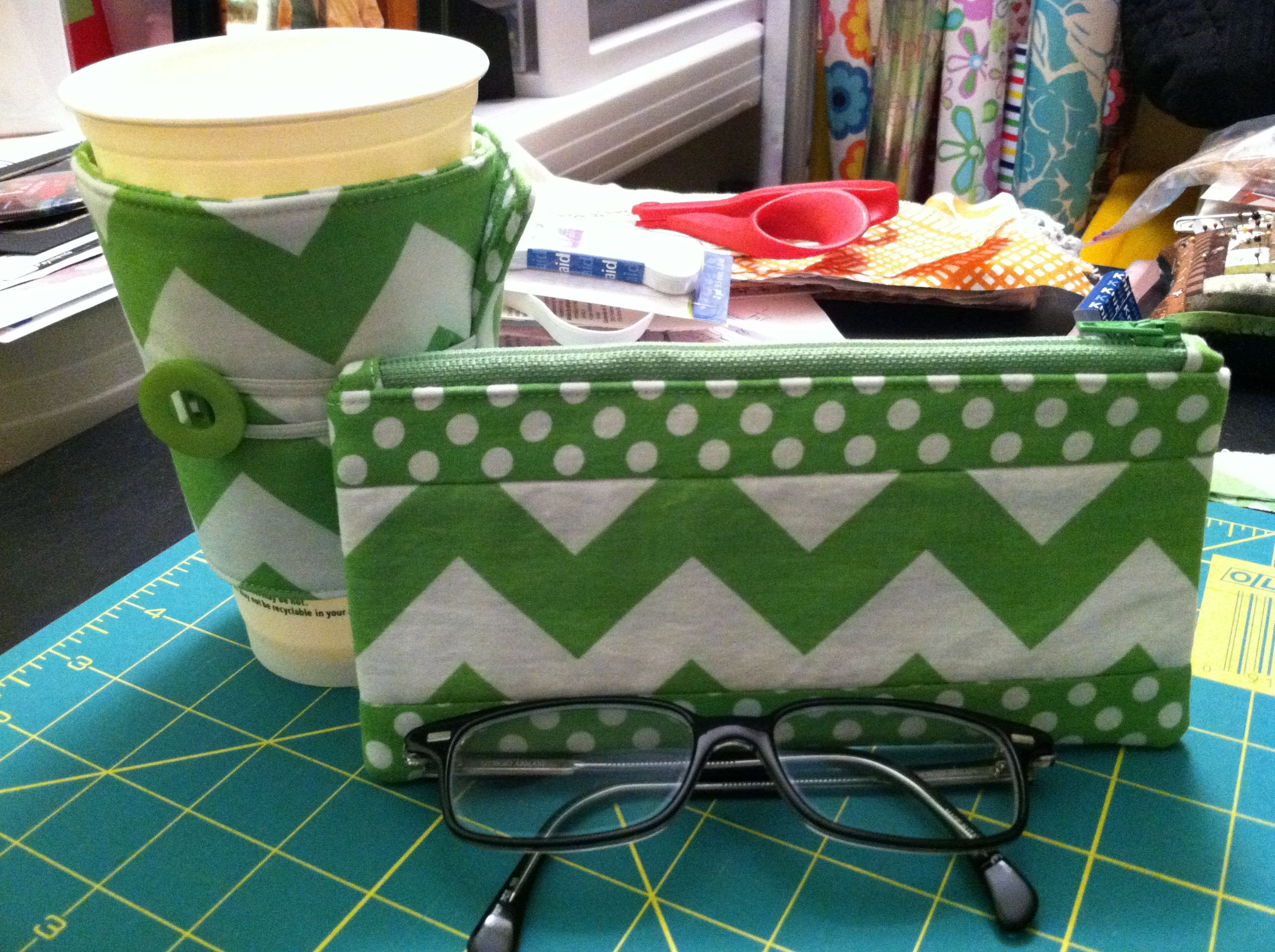 Matching glasses case and coffee cozy I made for my daughter. Super cute!