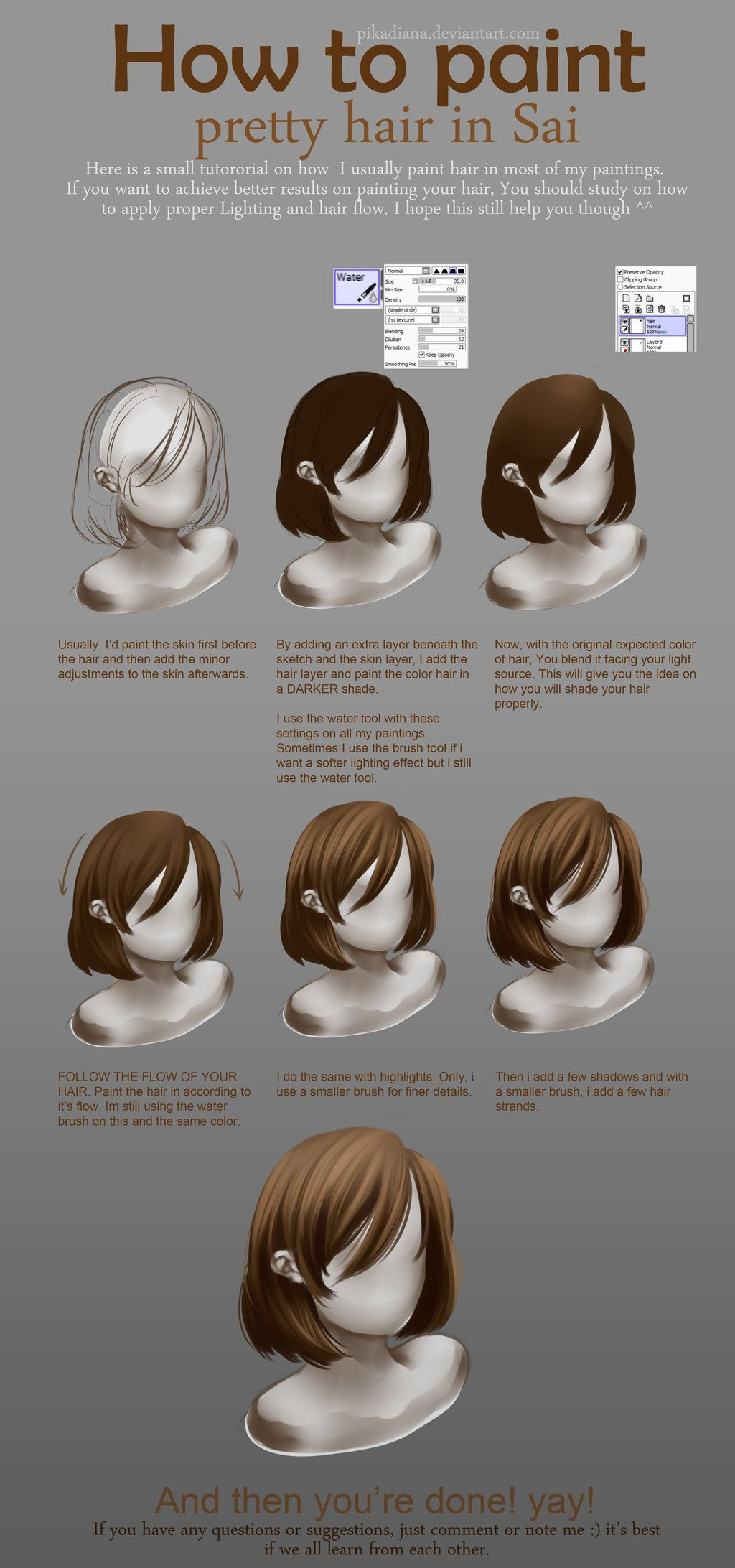 Tutorial How To Paint Purrty Hair With Sai Digital Painting Tutorials How To Draw Hair Digital Art Tutorial