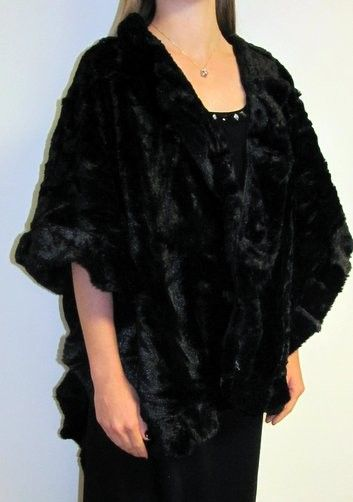Faux Fur Cape Wrap an elegant luxurious look for any evening special event. Many colors on sale in these nice size faur fur shawl ruana wraps.