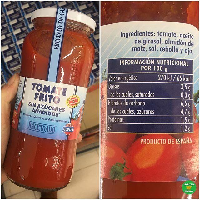 Tomate Frito Sin Azucares Anadidos Hacendado Supermercado Mercadona P V P 0 90 Euros Healthy Franita Tomate Frito Tomate Frito