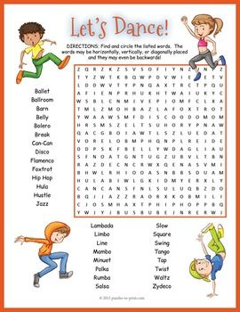 Dance Word Search Worksheet | The o'jays, Words and Vocabulary words