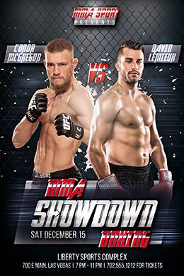 Mma Showdown Boxing Free Flyer Template Free Psd Flyer Templates