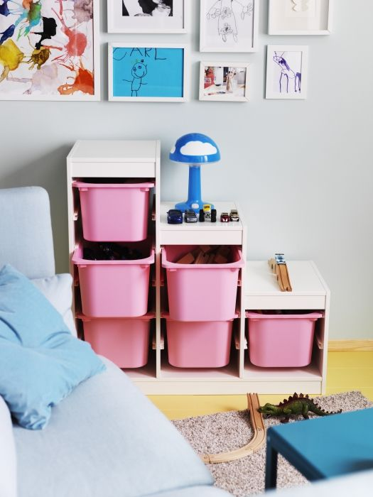 TROFAST Storage combination, white, pink | Clutter, Toy and Playrooms