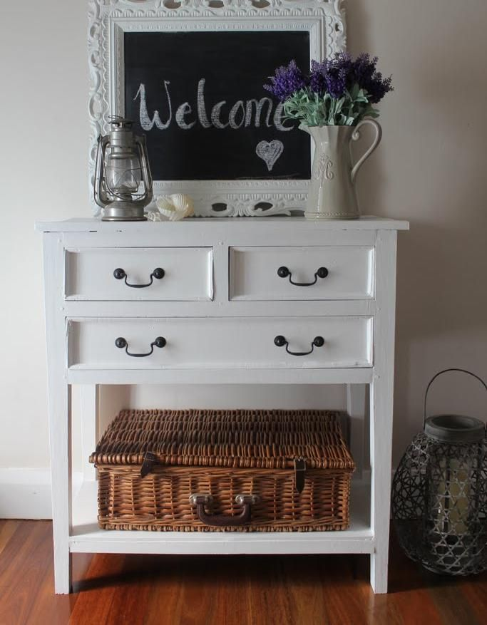 Furniture, Painted White Hall Table Console Table Sofa Table Narrow Console  Table With Drawers Console