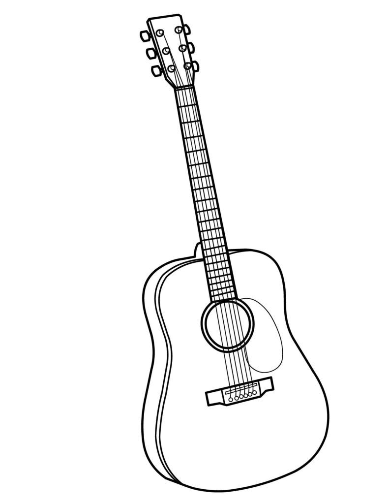 Printable coloring pages guitar - String Instrument Coloring Pages
