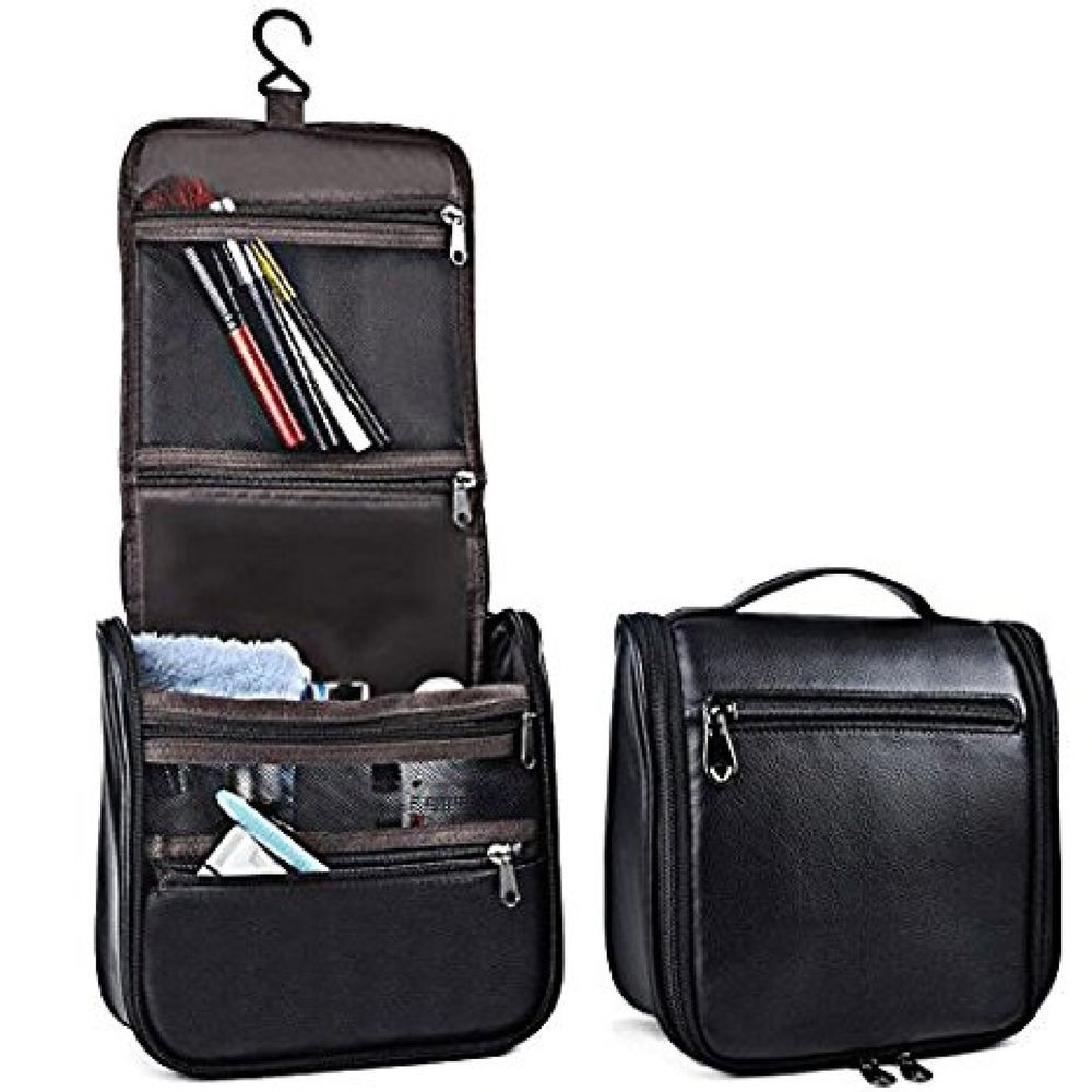 7b534285538f Men Hanging Toiletry Bag Leather Cosmetic Travel Organizer Man Shaving  Accessory  ZYSUN  ToiletryBag
