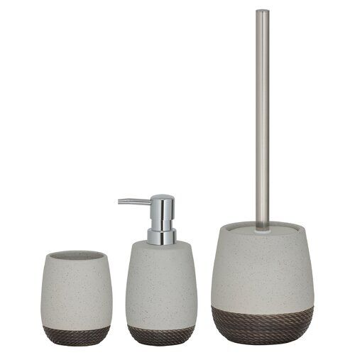 Puentes 3 Piece Bathroom Accessory Set Mercury Row Finish Grey Bathroom Accessories Sets Bathroom Accessories Soap Holder