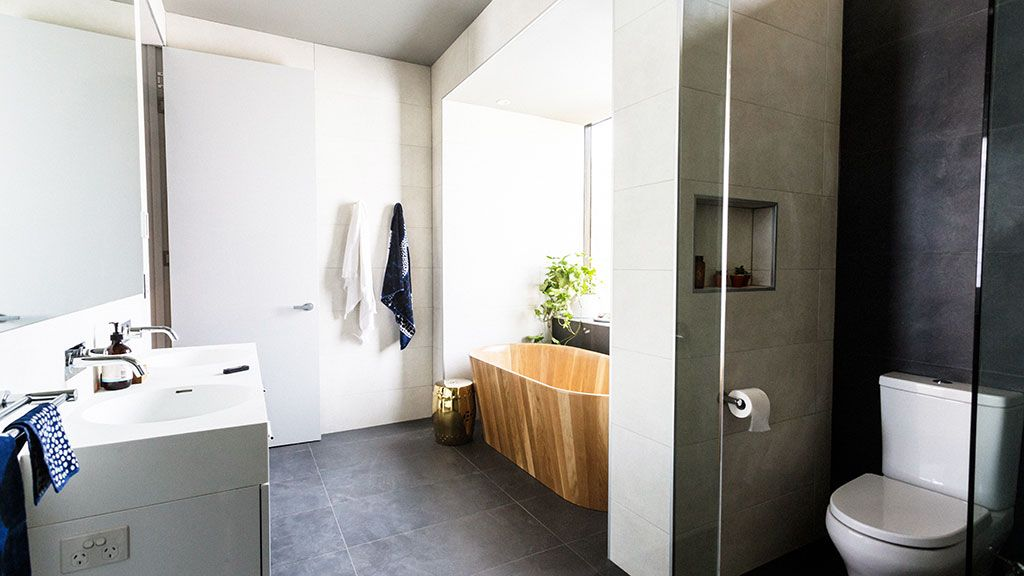 In Pictures Shannon And Simon S Awe Inspiring Ensuite The Block Glasshouse 9jumpin With Images The Block Glasshouse Glass House Basement Bathroom Remodeling