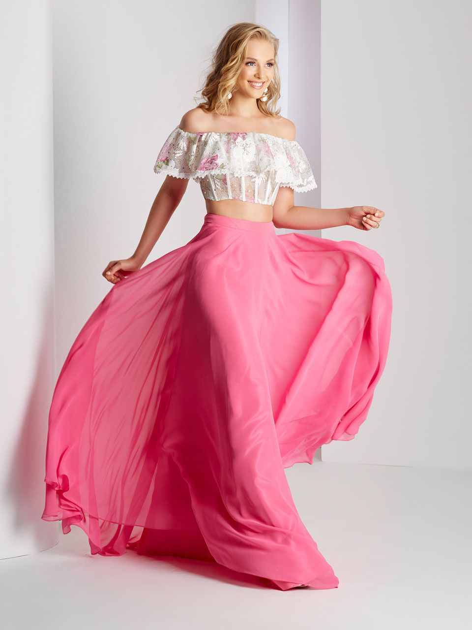 Clarisse prom two piece off the shoulder prom dress prom