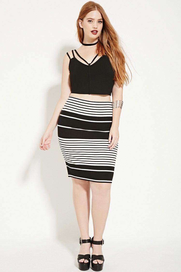 Plus Size Striped Pencil Skirt