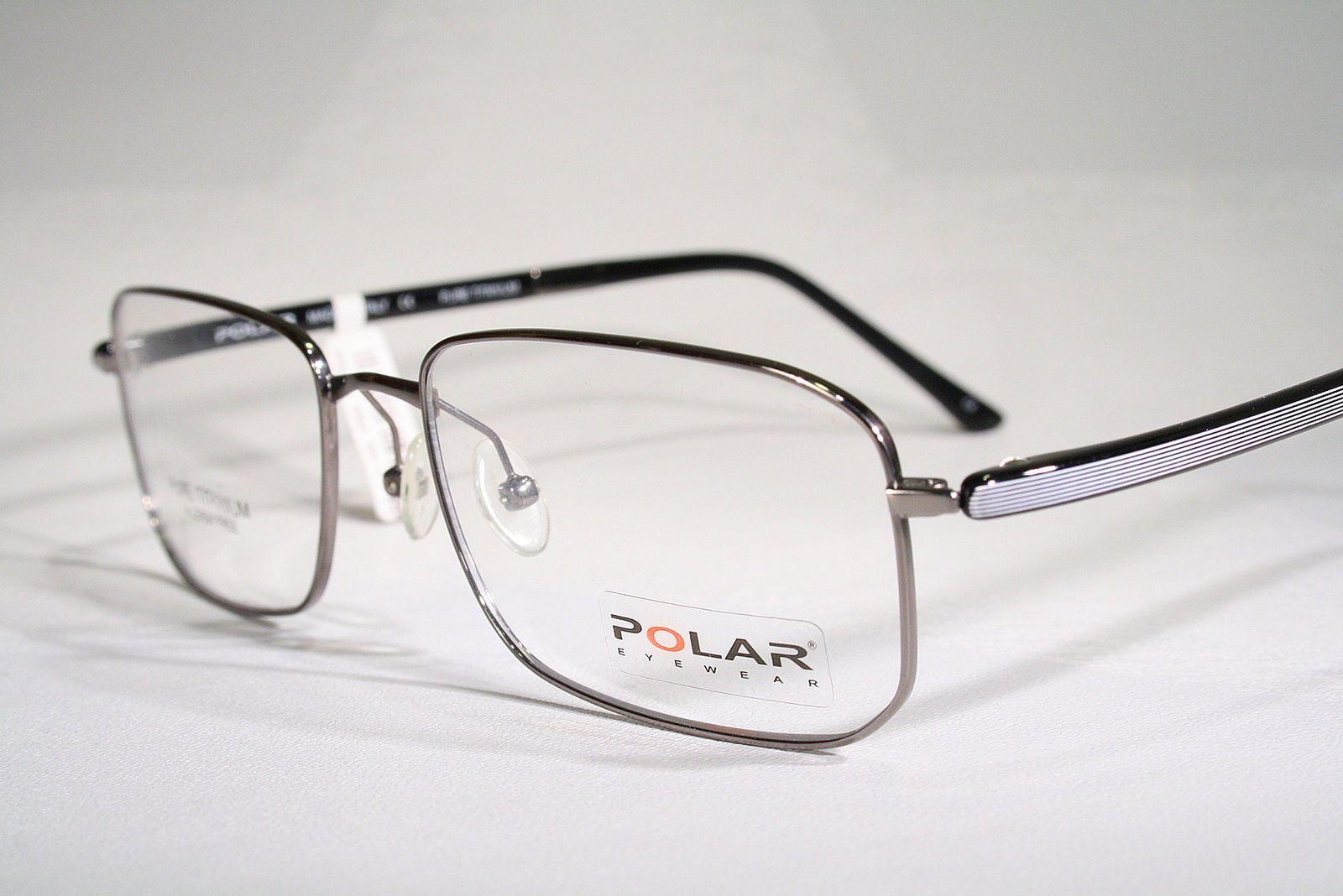 bd9b7f687d1 Titanium POLAR Mens Size Large Rectangular Light Optical Eyeglass Frames  Glasses