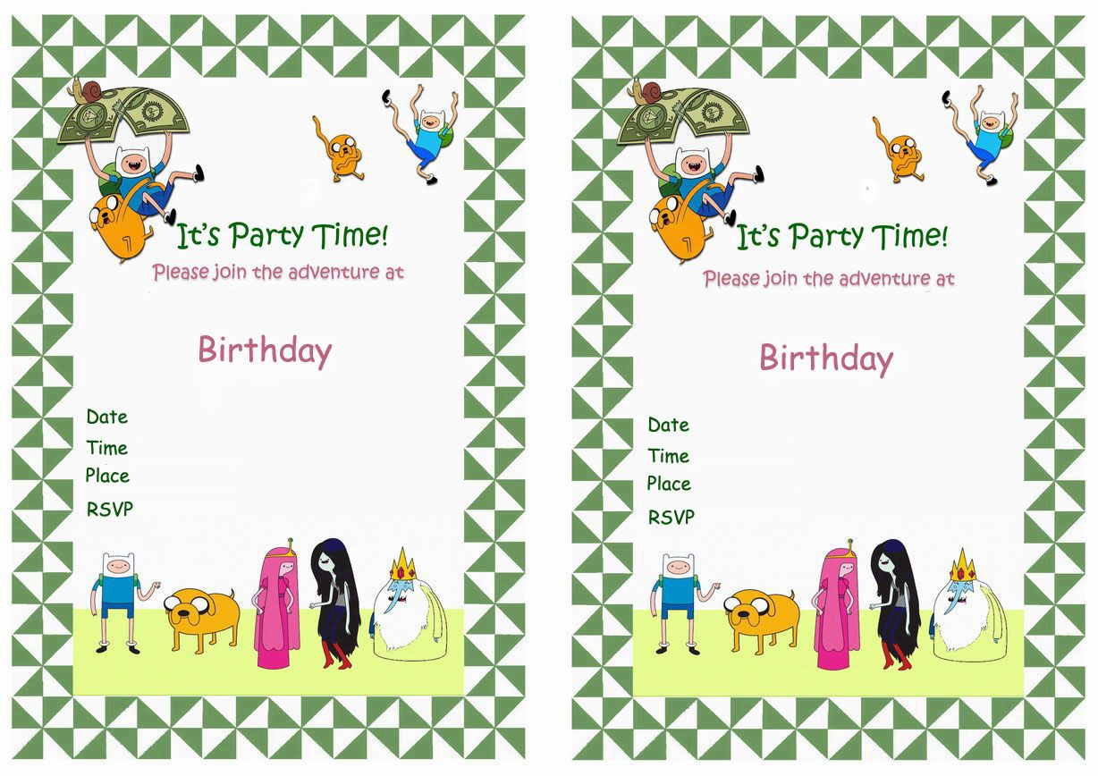Magnificent Adventure Time Birthday Invitations Pictures Inspiration ...