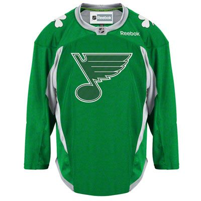 0c9e9023f St. Louis Blues Green St. Patrick s Day Practice Jersey