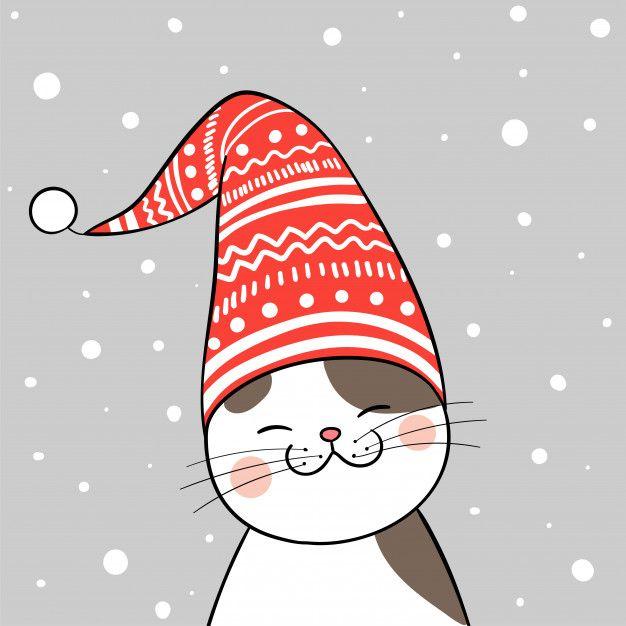 Gato Com Chapéu Vermelho Para O Natal
