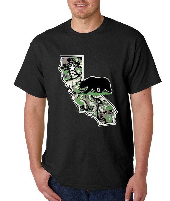 Men's California Bear Shirt Printed Camo State T-Shirt #1096 from $10.99 at xpressiontees.etsy.com | #ExpressionTees