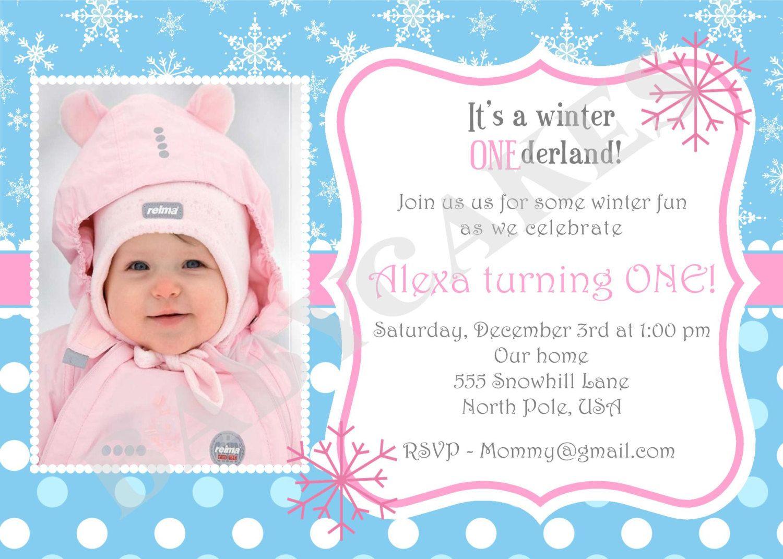 Winter Onederland Snowflake 1st Birthday Invitation By Jcbabycake Birthday Party Invitation Wording 1st Birthday Invitation Wording Create Birthday Invitations