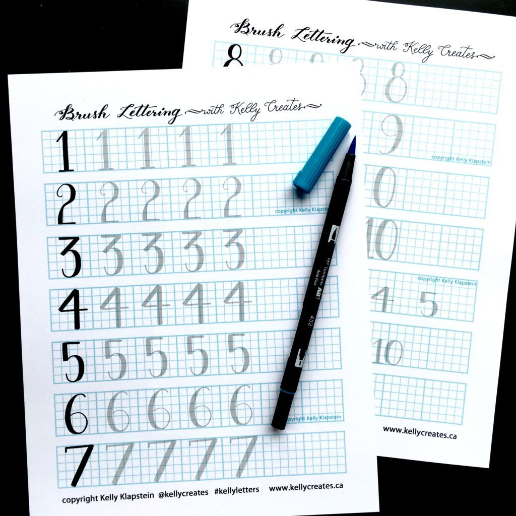 Free Brush Lettering Guide From Kelly Klapstein