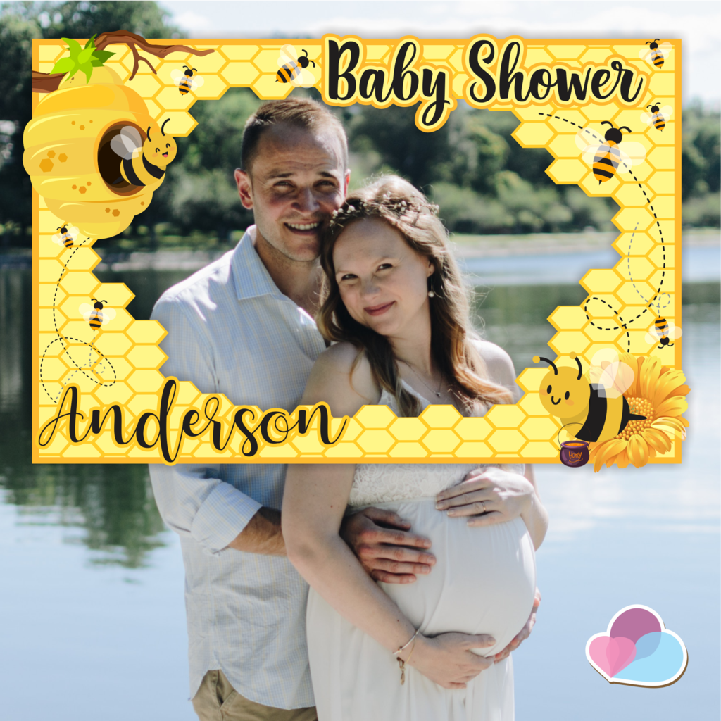 Bumble Bee Photo Booth Frame Printable Watercolor Honey Bees Baby Shower Bridal Shower Birthday Party Photo Booth Frame