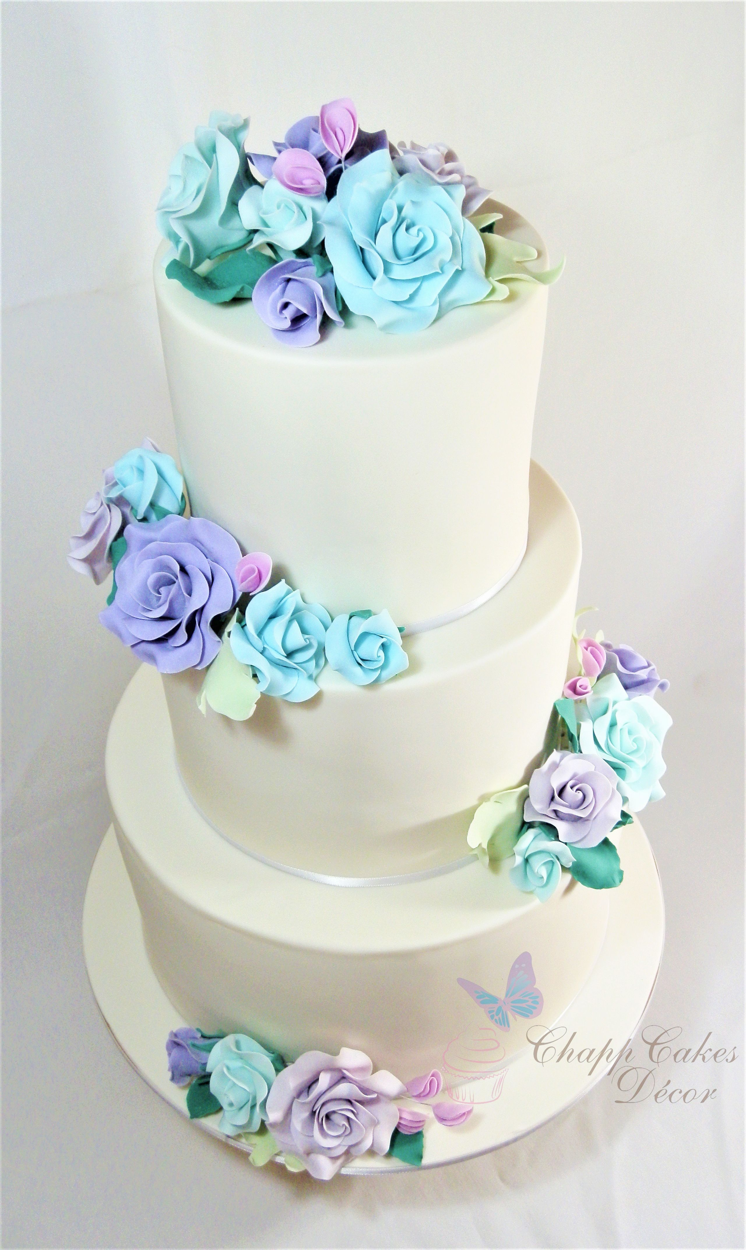 Pastel fondant rose wedding cake blue pink purple u mauve simple