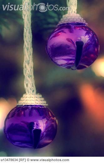 Two Small Purple Bells on Christmas Tree  Visualphotos.com
