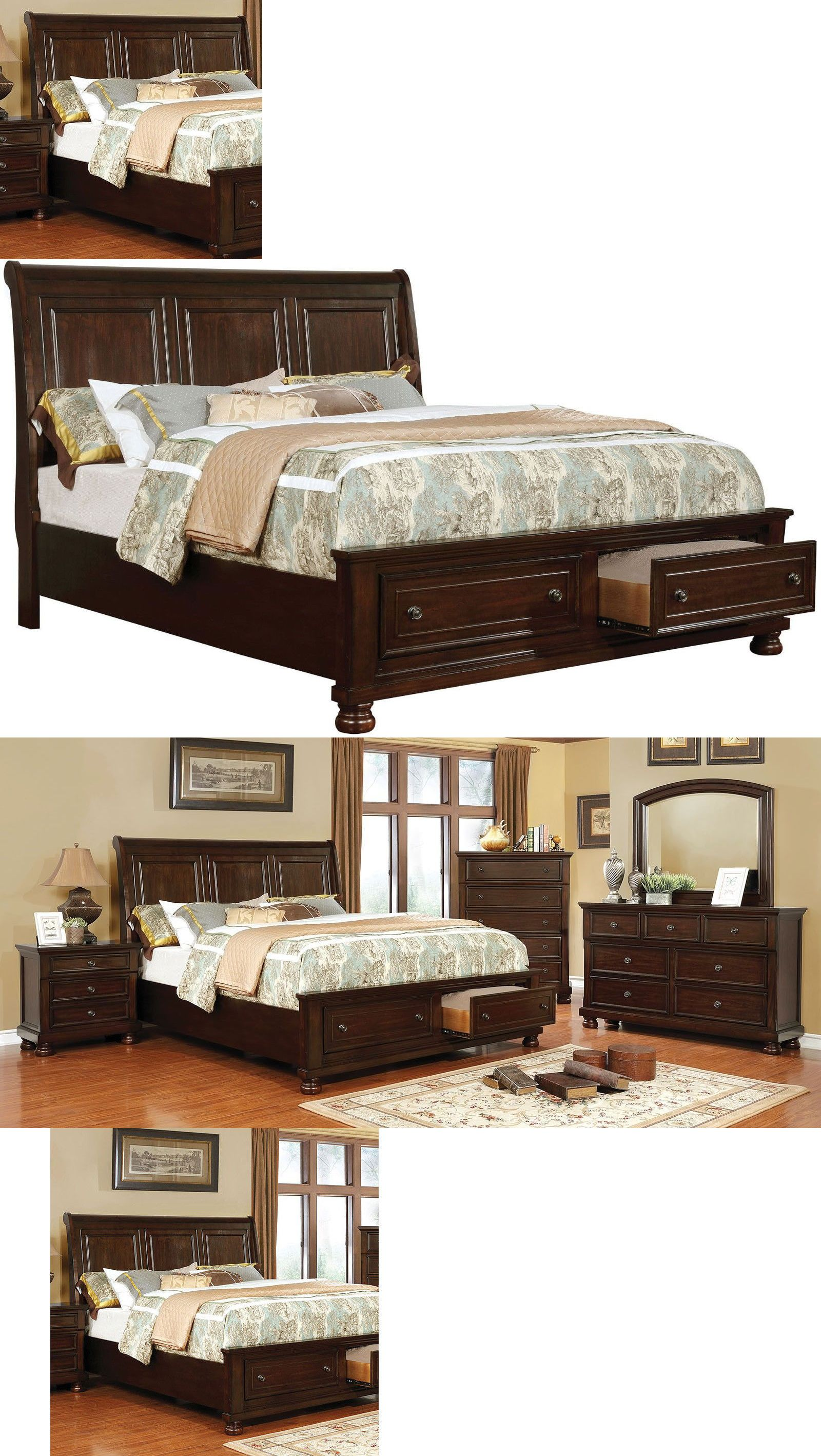 Bedroom Sets 20480 Beautiful Elegant Modern Brown Cherry 1pc Bedframe Quee Cherry Wood Bedroom Furniture Woodworking Projects Furniture Wood Bedroom Furniture