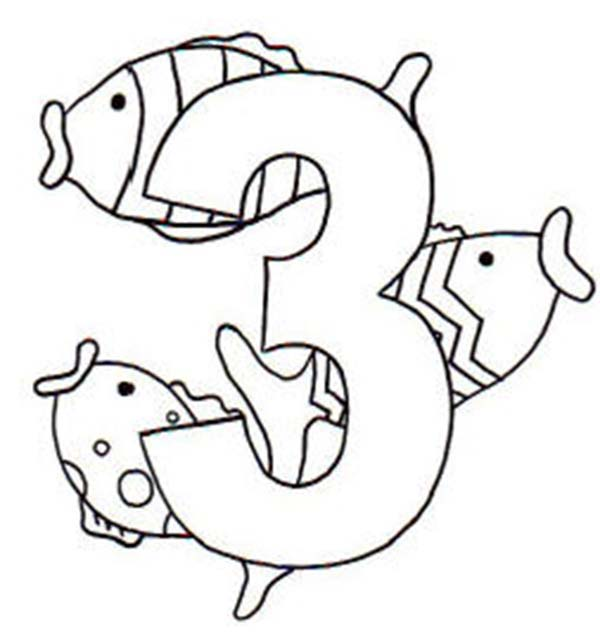 Learn Number 3 With Three Fishes Coloring Page Bulk Color Fish Coloring Page Coloring Pages Online Coloring