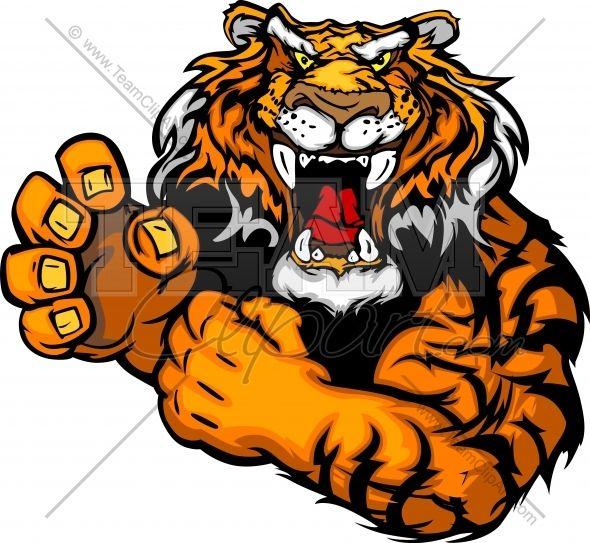 tiger mascot tough tiger mascot with fighting hands vector clipart rh pinterest com Auburn Tigers Logo Black and White Cartoon Auburn Tiger Logo
