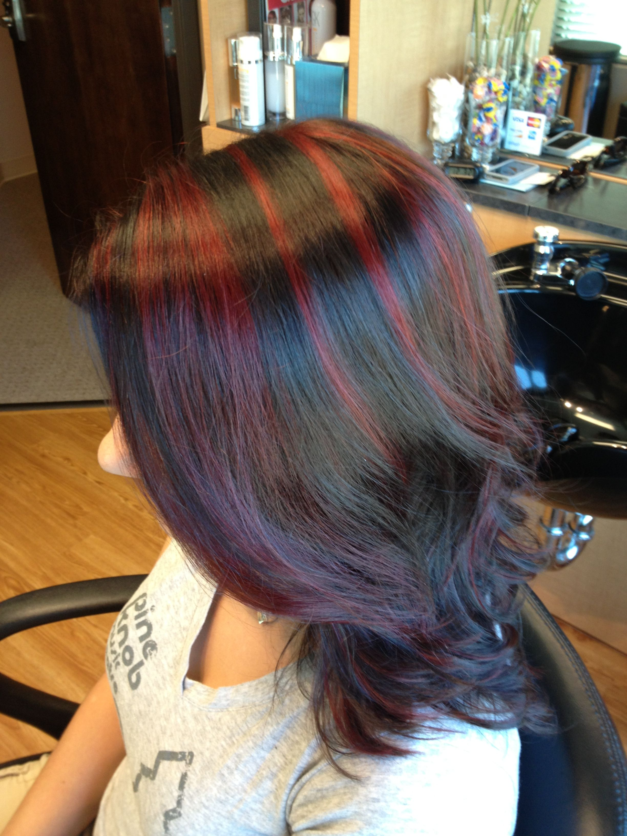 Red Highlights On Dark Hair Hair By Melissa Lobaito Hair Hair