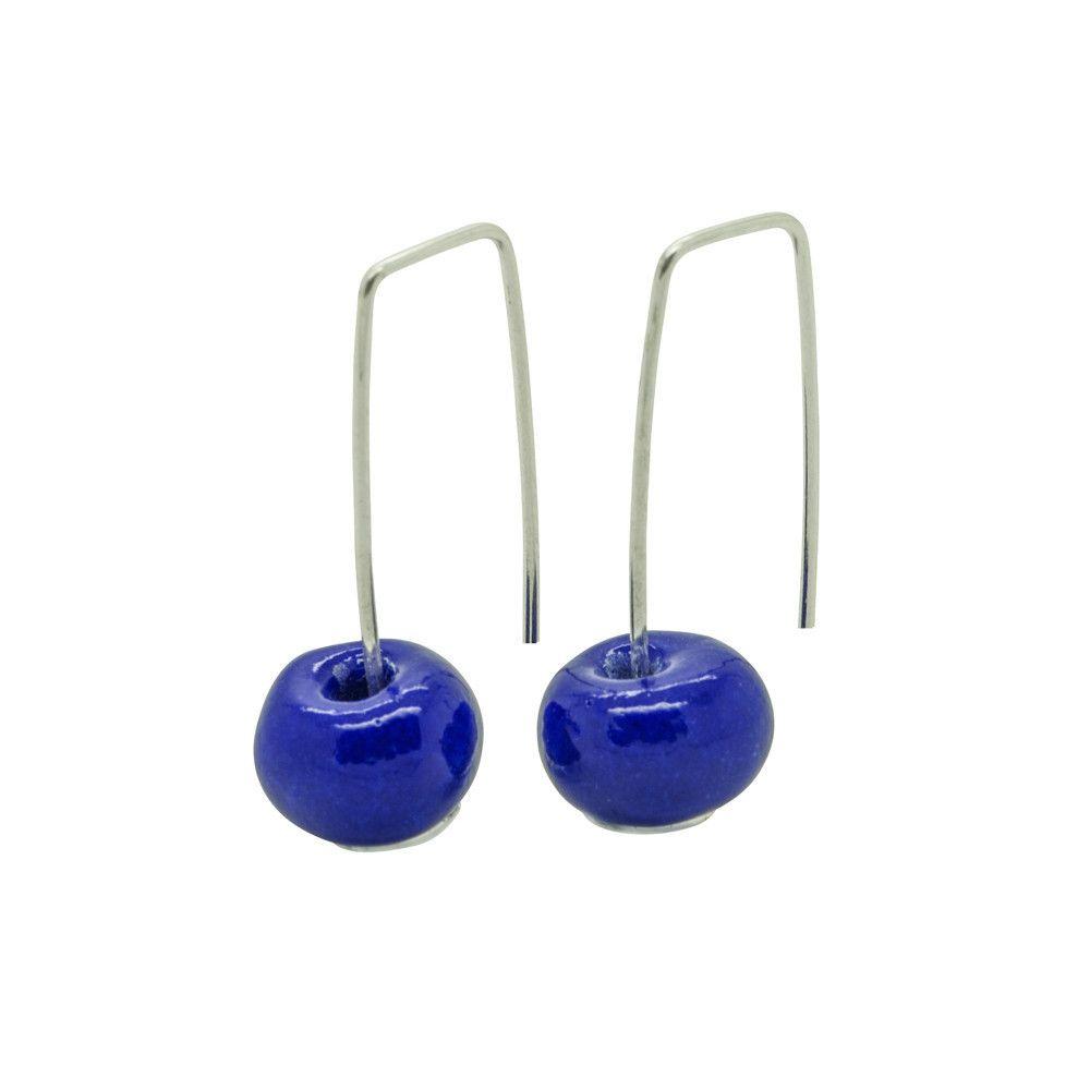 Silver Earrings|Dark Blue Ceramic Round Bead|Handmade Designer Jewellery