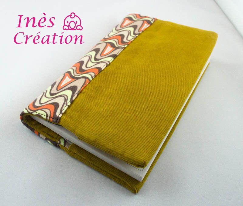 Porte chéquier réversible tissu velours jaune moutarde et jersey courbes rétro/vintage