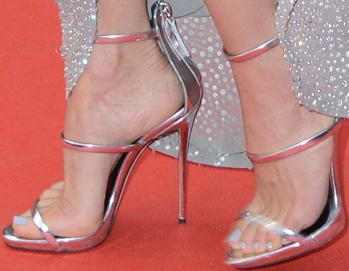63982f15fbf2 Poses With Susan Sarandon at Cannes in Giuseppe Zanotti  Harmony  Sandals
