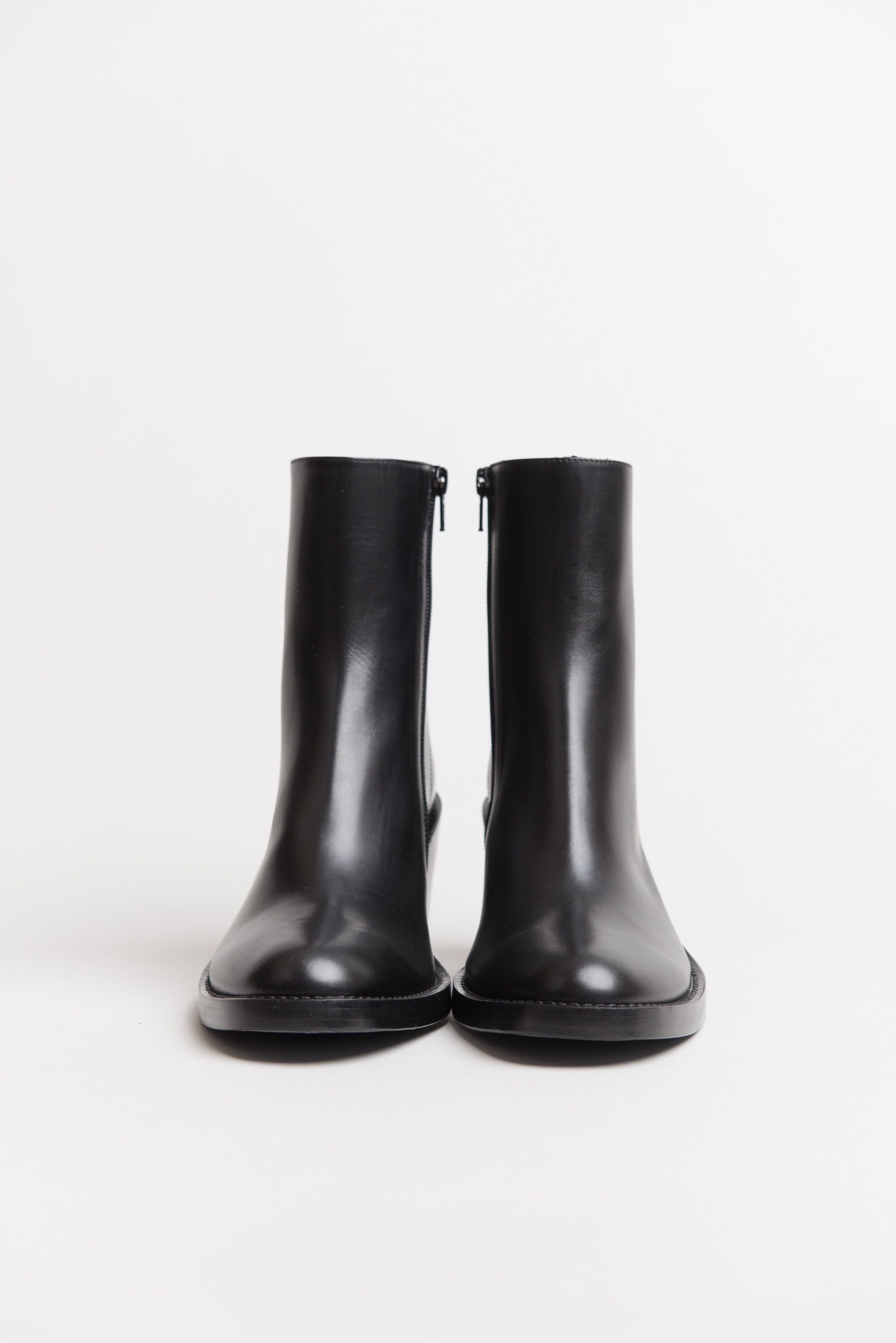 Ann Demeulemeester High Heel Boot Vitello Fine Nero Boots High Heel Boots High Leather Boots