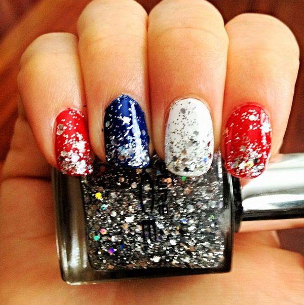 20+ Glitter 4th of July Nail Art Ideas & Tutorials | Manicure, Mani ...