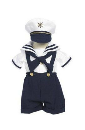 New  Infant  Boy /& Toddler Navy Sailor Formal Shorts Suit Outfit white 0M 3T