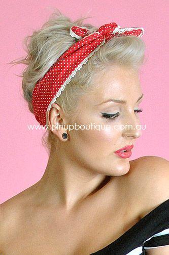 """Love from Pixie"" Red polka dot hair bandana"