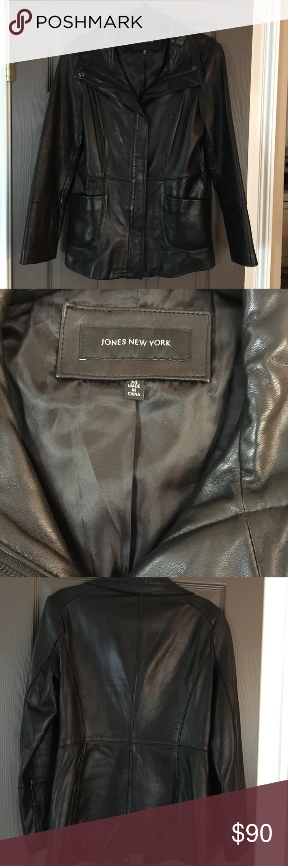 Jones New York Black Leather Jacket Size M Leather Jacket Black Leather Jacket Jones New York [ 1740 x 580 Pixel ]