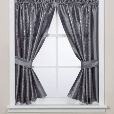 Infinity Bathroom Window Curtain Panels From At Bed Bath Beyond The Fabric Features A Metallic Grey Background Adorned With