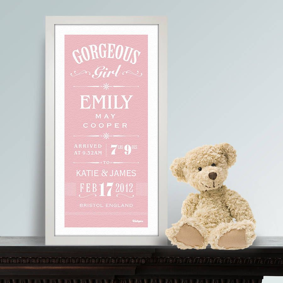 personalised new baby girl print kids things pinterest baby